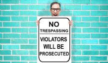 No Trespassing Violators will be proscuted Art Pint - Wall Art Print Poster   - Purple Geekery